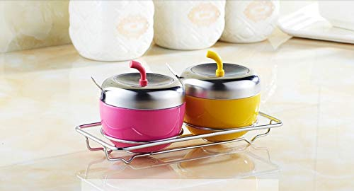 Autumn Water Stainless Steel Apple Sugar Bowl Seasoning Jar Condiment Pot Spice Container Canister Cruet with Lid and Spoon