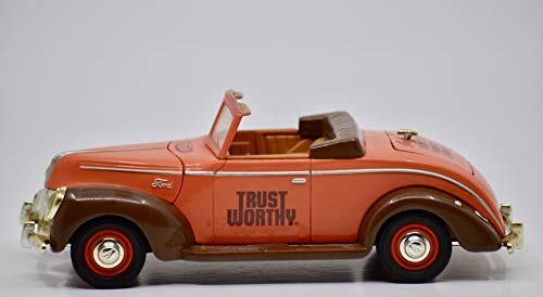 1995 - Libert Classics Inc - 1940 Ford Convertible - Trust Worthy Hardware Stores - 1:25 Scale Die Cast Metal Bank w/Key - OOP - Rare - Collectible