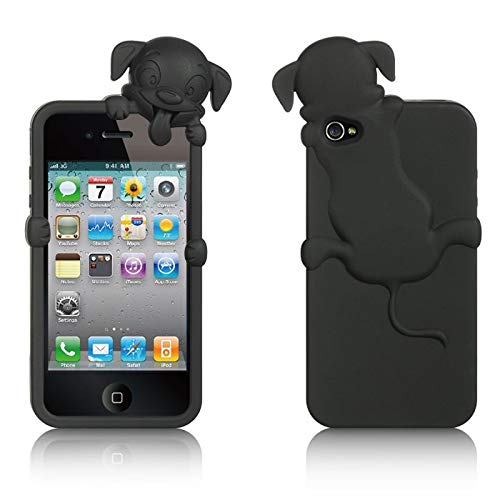 Insten Rubber Silicone Soft Skin Gel Case Cover Compatible with Apple iPhone 4/4S, Black