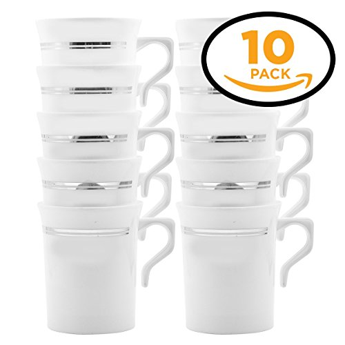 8 OZ COFFEE MUGS WITH HANDLE WHITE/SILVER TRIM PACK OF 10