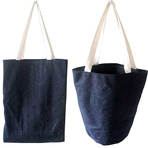 Toy Bag Denim (FashionBoutique Set of 2 Heavy Duty Double Layer Denim Fabric Reusable Shopping Tote Bag Travel Bag Toy Bag with Inner Pocket (Cowboy Blue))