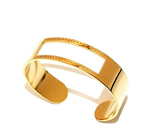 Centerline Gold Plated Adjustable Bracelet Cuff 5/8 Inch Wide