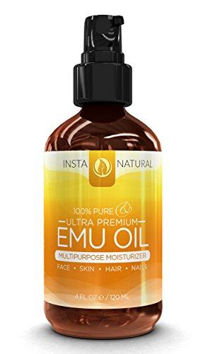 InstaNatural 100% Pure масло эму - лучшие природные масла для лица, кожи, рост волос, растяжки, шрамы, гвозди, мышцы и боль в суставах, и многое другое - 4 унции
