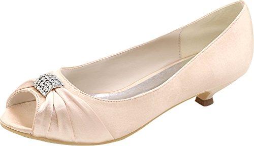 Sandals Ladies Comfort Salabobo Smart Work Kitten Heel Prom 09 Party 0700 Bride Fashion Bridesmaid Dress Rhinestone Champagne Satin Toe Wedding Peep EEZBHrxq