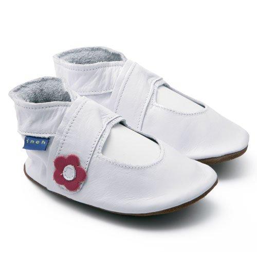 Inch Blue-Zapatos de niñas bebé cochecito de funda de piel suave suela Mary Jane color blanco Blanco