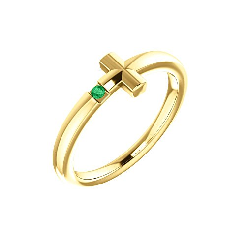 Bonyak Jewelry 14k Yellow Gold Chatham Lab-Grown Emerald Youth Cross Ring - Size 3 by Bonyak Jewelry
