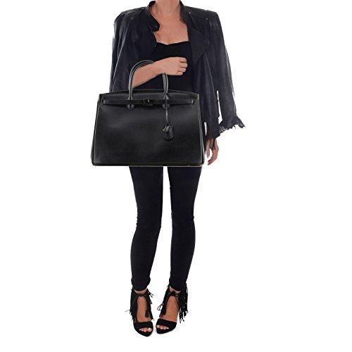 Rouven Noir de ICONE SO DARK CITY 40 BOX Sac fourre-tout sac en cuir dames sac à main noble minimaliste moderne chic // NEW DARK GREY HARDWARE (40x28x19cm)