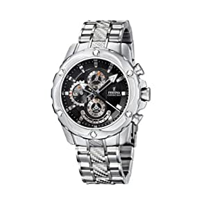 Festina Men's Crono F16525/6 Silver Stainless-Steel Quartz Watch with Black Dial
