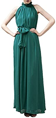 Seeksmile Women's Chiffon Halter Neck Sleeveless Maxi Dress