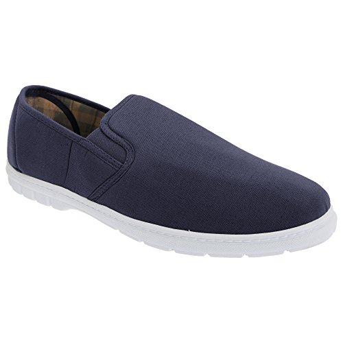 Scimitar Mens Twin Gusset Slip On Casual Textile Shoes Navy Blue Denim AEUuVxh