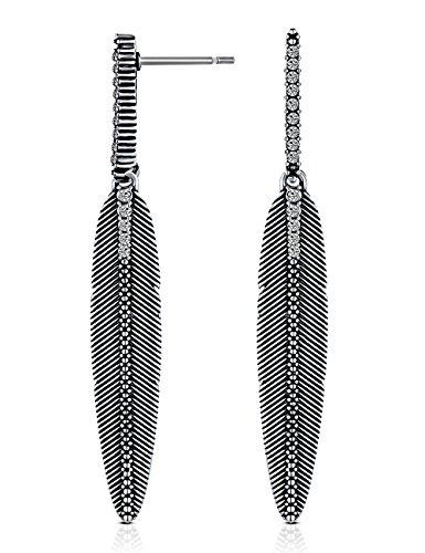 - XZP Boho Leaf Dangle Earring Antique Black CZ Feather Drop Earrings for Women