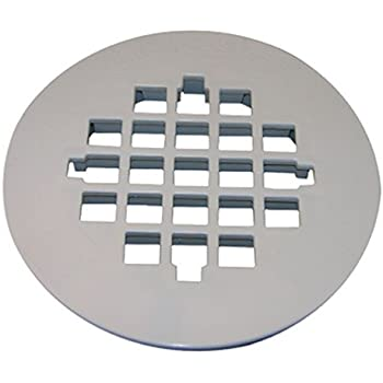 LASCO 03 1257 Snap In Style Shower Drain Grate, White Finish