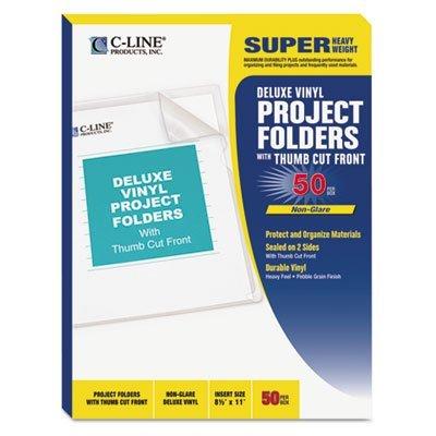 (Deluxe Project Folders, Jacket, Letter, Vinyl, Clear, 50/Box, Sold as 50 Each)