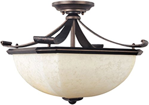 Rustic Iron Ribbon (Maxim 21076FLRB Oak Harbor 2-Light Semi-Flush Mount, Rustic Burnished Finish, Frost Lichen Glass, MB Incandescent Bulb , 40W Max., Damp Safety Rating, 2900K Color Temp, Standard Dimmable, Glass Shade Material, 2600 Rated Lumens)