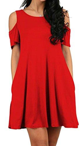 Neck Dress Casual Solid line Ruched Big Color A Shoulder Women Pocket Red Tang Crew Cold Summer 61vfXvg
