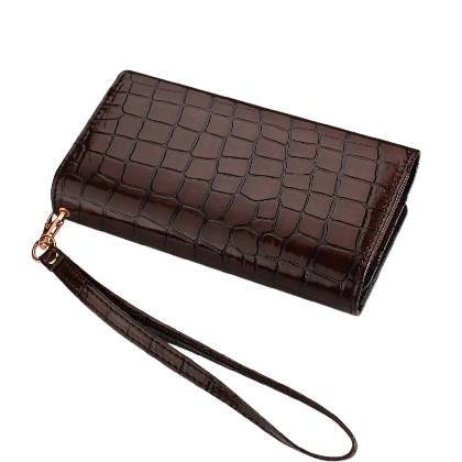High Quality Leather Wallet Flip Carrying Case Pouch for ZTE nubia Z7 Max - with Card Holder and Removable Strap - Crocodile Pattern - Magnetic Clasp for Easy Phone Access - (Brown Plus Interior Black) + Mini Touch Screen Stylus