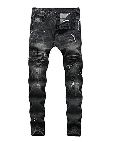 Versaces Maschi Jeans Metà Della Vita Locomotiva Fori Vestibilità Slim Nero Pantaloni Piedi Color 1