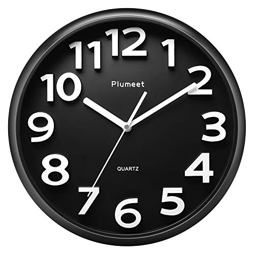 "Plumeet Large Wall Clock, 13"" Silent Non-Ticking Quartz Decorative Clocks, Modern Style Good for Living Room Home Office Battery Operated (Black)"