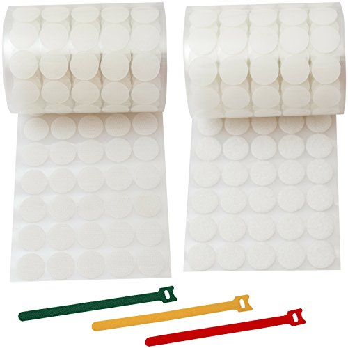 Velcro Dots 1000 pcs White Craft Hook and Loop Dots of 3/4 inch Self Strong Adhesive Sticky Back Coins (500 Pairs/Set) + 15pcs of Reusable Cable (Velcro Dots Loop)