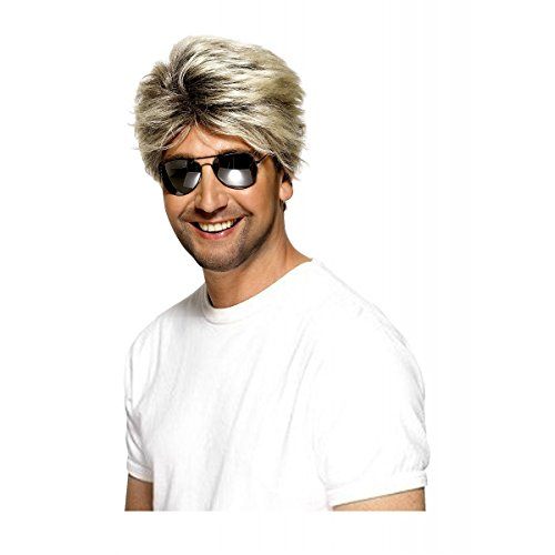 [Smiffy's Men's Short Blonde Blow-Out Wig, One Size, 80's Street Wig, 5020570420294] (Blonde Wig Men)