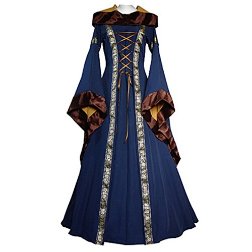 Women's Medieval Dress Renaissance Costume Gown Hooded Floor Length Women Cosplay Dresses Retro Gown (S, blue (Medieval Dress Styles)