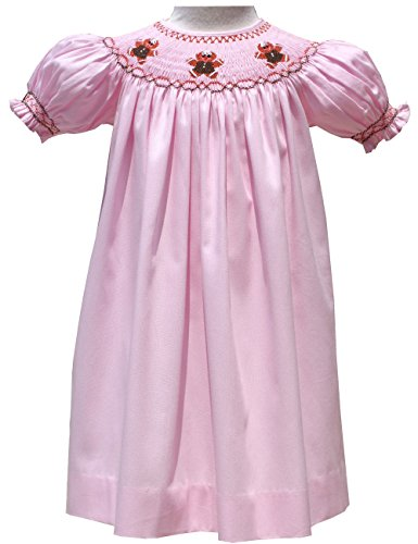 Pink Christmas Girls Bishop Dress Hand Smocked Gingerbread Cookies