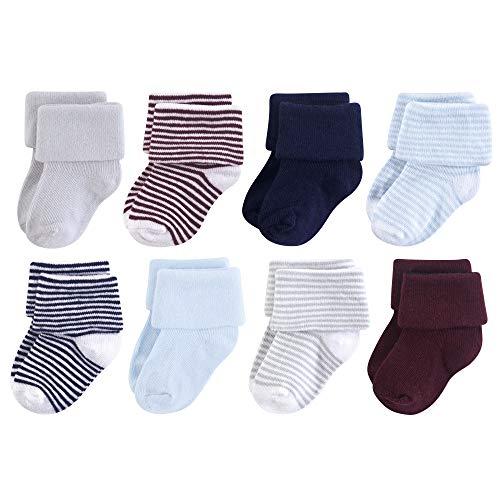 Luvable Friends Baby Basic Socks, Navy Light Blue 8Pk, 0-6 ()