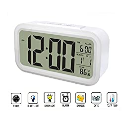 Smart Alarm Clock,Multi-Function Digital Clock with Dimmer Backlight,Time, Date, Temperature and Alarm (White)