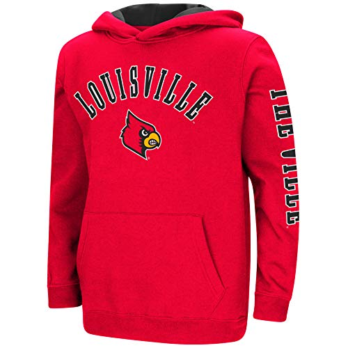Colosseum NCAA Youth Boys-Crunch Time-Hoody Pullover-Louisville Cardinals-Red-Youth Large