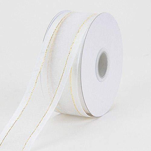3/8'' Colors White Organza w/Metallic Gold Satin Edge Ribbon Gift Wrap Arts and Craft 25 Yards 3/8' Satin Edge Organza Ribbon