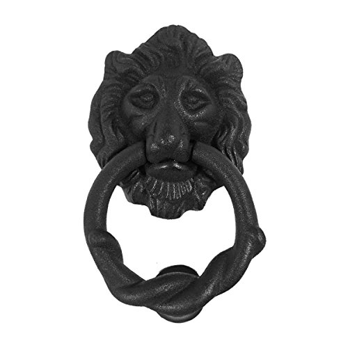 Lion Door Knocker Iron Matte Finish Authentic Renovator's Supply Rust Resistant Finish Iron Ring Door Knocker