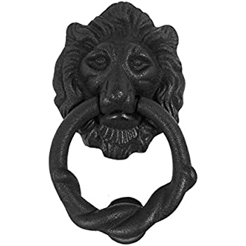 brass lion mouth door knocker iron matte finish authentic renovator supply rust resistant solid