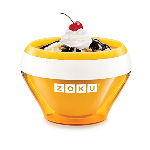 Zoku Ice Cream Maker, Compact Make and Serve Bowl with Stainless Steel Freezer Core Creates Soft Serve, Frozen Yogurt, Ice Cream and More in Minutes, BPA-free, 6 Colors, Orange