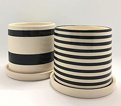 Ceramic Succulent Planter Pot Set | 2 Planters and 2 Saucers | Modern, Unique Design | Black and White Stripes | 4in x 3.7in | Perfect for Small Plants, Flowers, Cactus and Herbs
