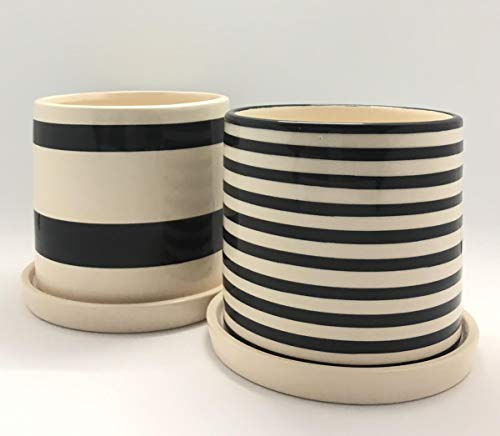 Modern, Ceramic Pots for Plants | 2 Planters & 2 Saucers | Unique, Modern, Striped Design | Black and Creme Color | Perfect for Small Plants, Flowers, Succulents and Cactus | 4in x 3.7in