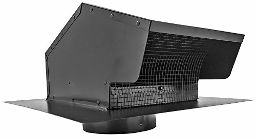 Builder's Best 012633 Roof Vent Cap, Black Galvanized Metal, with 6-inch diameter collar (Gooseneck Vent)