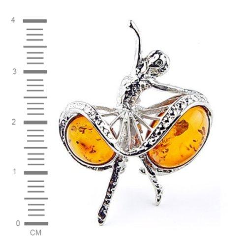 Ambre de la Baltique miel Noir Argent Sterling Style Reproduction-Ballerine broches