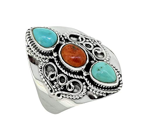 (YoTreasure Turquoise Solid 925 Sterling Silver 3 Stone Designer Ring)