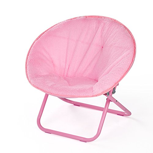 American Kids Faux Fur Kids Saucer Chair, Blush