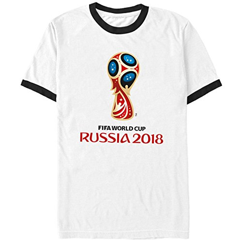 Fifth Sun FIFA World Cup Russia 2018 Men's Classic Color Symbol White/Black Ringer T-Shirt - Cup Slim Fit T-shirt