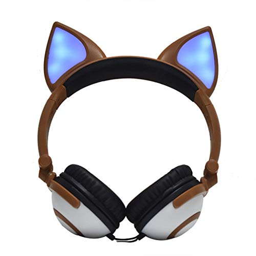 Headset Headphone Earphone Foldable Flashing Glowing Fox Ear Headphone Gaming Headset LED Light Earphone