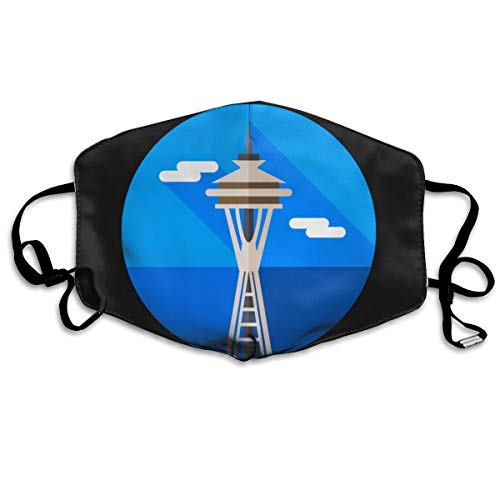 SDQQ6 Space-Needle Mouth Mask Unisex Printed Fashion Face Mask Anti-dust Masks ()