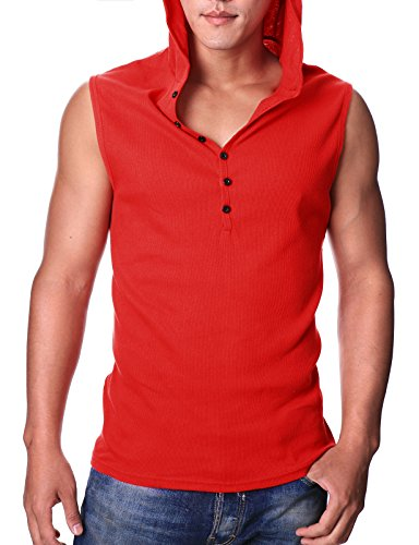 a9a78aca2c198 Ohoo Mens Slim Fit Hooded Sleeveless Hoodie Henley Button ...