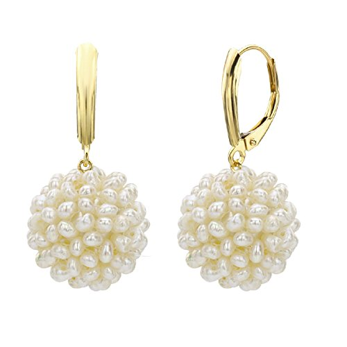 14k Yellow Gold 15-16mm White Freshwater Cultured High Luster Pearl Cluster Drop Earrings