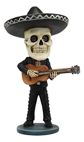 Ebros Day Of The Dead Skeleton Wedding Mariachi Guitar Player Bobblehead Statue 6