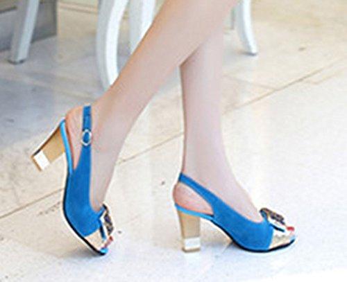Bleu Avec Aisun Mode Chunky Femme Sandales Toe Peep Strass xqq78aBvUY