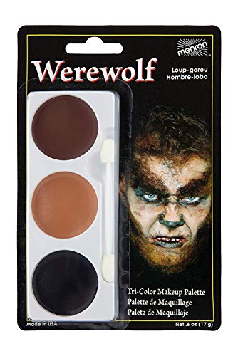 Wolf Face Paint For Halloween (Mehron Makeup Tri-Color Halloween Makeup Palette)
