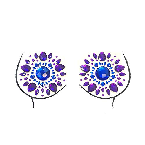 Neva Nude Blue Violet Crystal Nipztix Pasties Nipple Cover ()