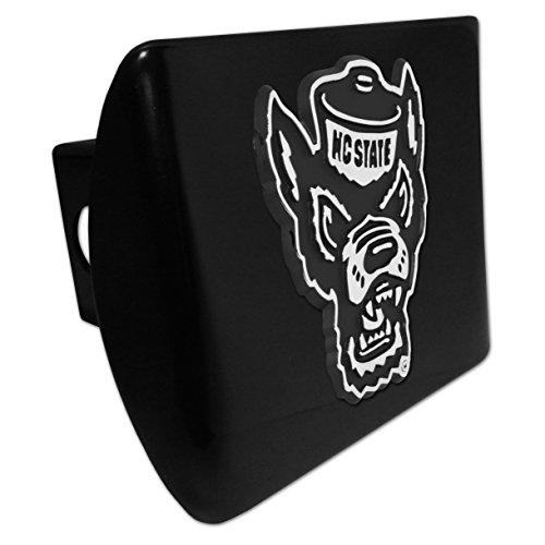(AMG Auto Emblems North Carolina State Wolfpack METAL Emblem on Black METAL Hitch Cover)