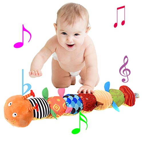 Charles Baby Musical Colorful Caterpillar Soft BB Hand Rattle Plush Toy with Ruler Design,Bells and Rattle for Infant,Newborn,Boys,Girls